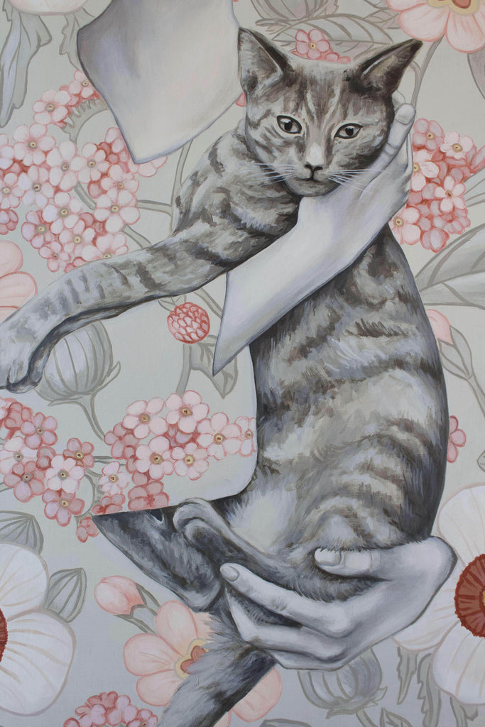 Cat and figure floral painting by Shawna Gilmore
