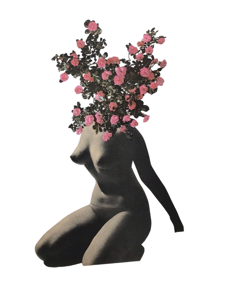 Floral and figure collage by artist Lydia Cecilia