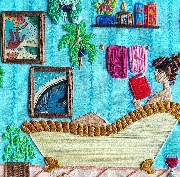 Anuradha Bhaumick, Staycation Sunday - Original Embroidery Artwork