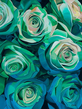 Green Painting of Roses by Artist Neena Buxani