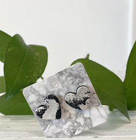 ClayxPlay by Wolf Creates, Black Hearts with Silver Leaf Earrings - Wearable Art