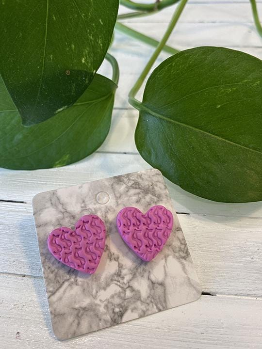 ClayxPlay by Wolf Creates, Pink Money Magic Earrings - Wearable Art