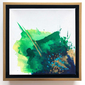 Green abstract painting by artist Nicolle Cure