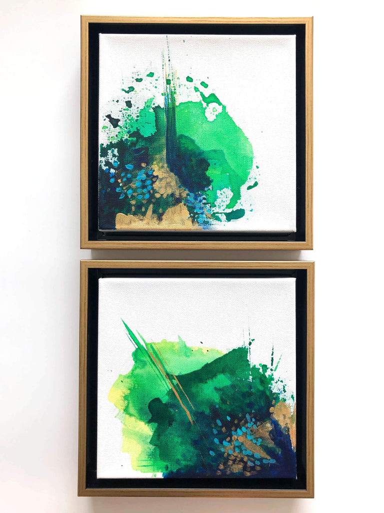 Green abstract paintings by artist Nicolle Cure
