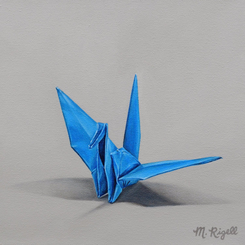 Blue Crane Origami Painting by Artist Michelle Lee Rigell