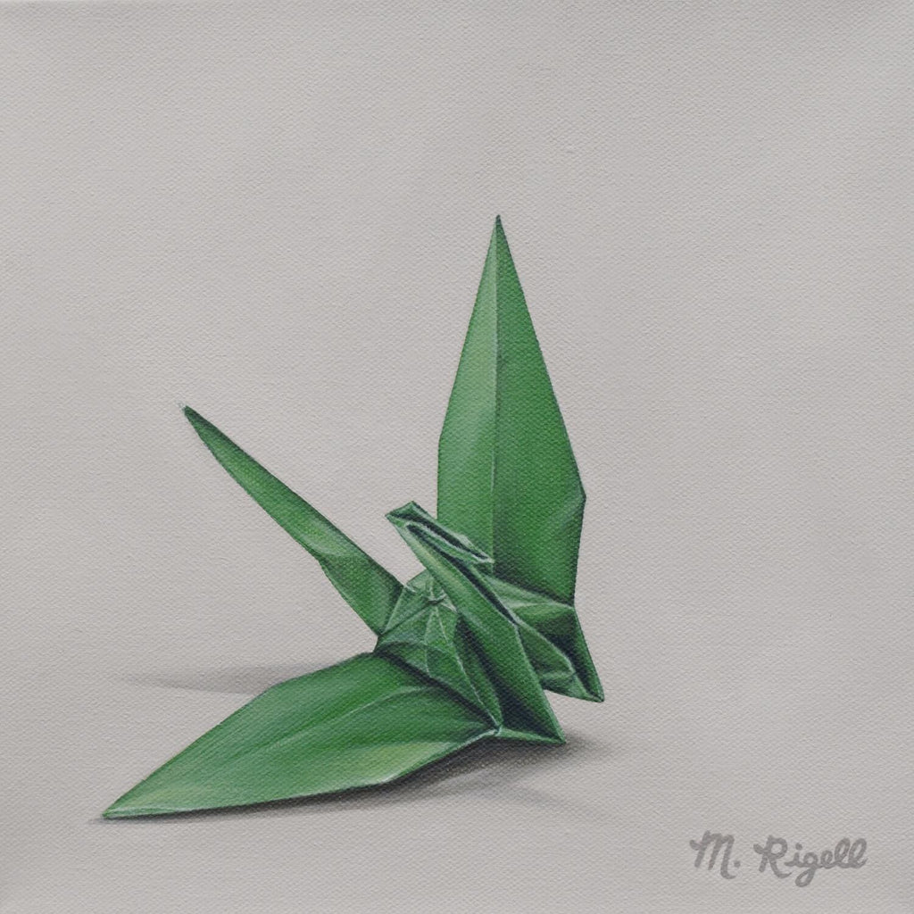 Green Crane Origami Painting by Artist Michelle Lee Rigell