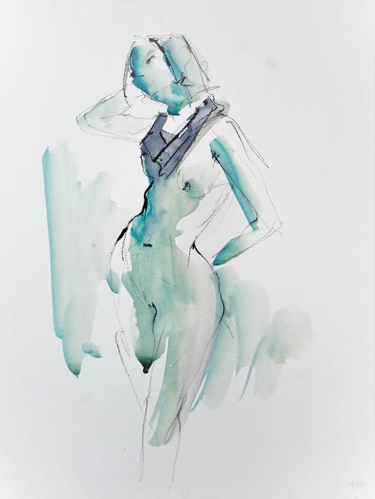 Mixed media figure drawing by Eric Saint Georges