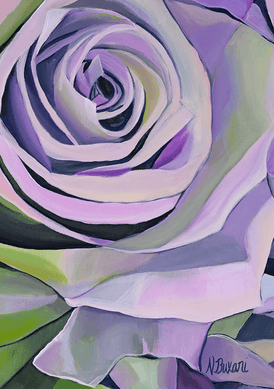 Purple and green floral painting by artist Neena Buxani