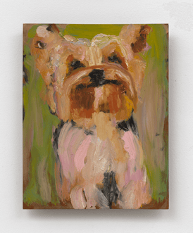 Painting of small dog against green background by Jessica Alazraki