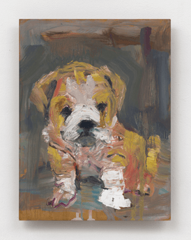 Painting of puppy on gray background by Jessica Alazraki