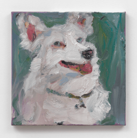 Painting of white dog on green by Jessica Alazraki