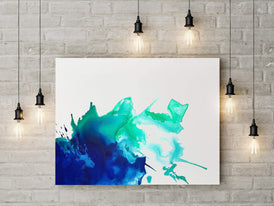 Blue and green abstract painting by Nicolle Cure