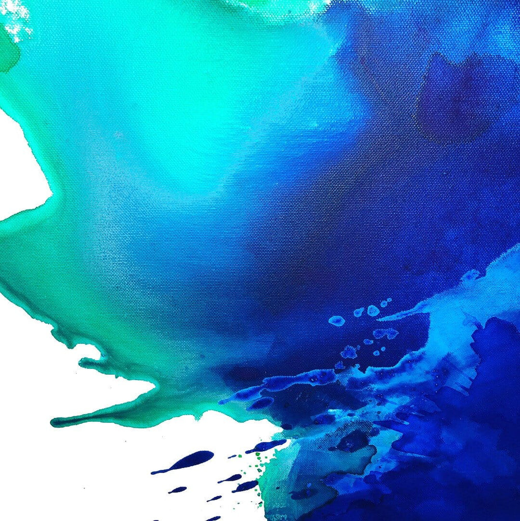 Detail, blue and green abstract painting by Nicolle Cure