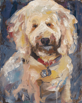 White dog painting by Jessica Alazraki