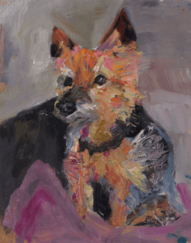Painting of a small dog by Jessica Alazraki