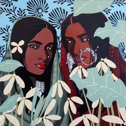 Two female figures painting by Kestin Cornwall