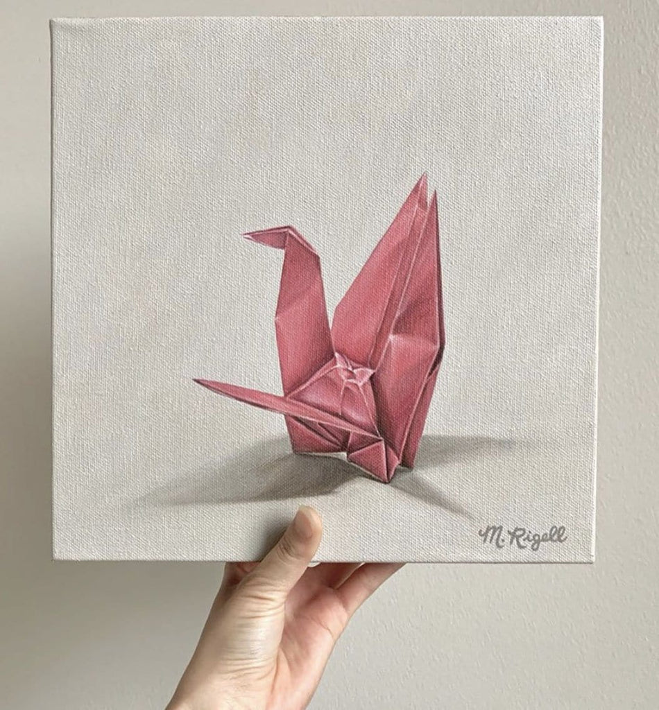 Pink Crane Origami Painting by Artist Michelle Lee Rigell
