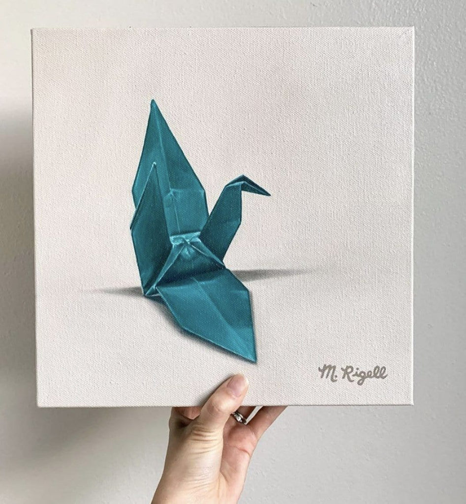 Teal Crane Origami Painting by Artist Michelle Lee Rigell