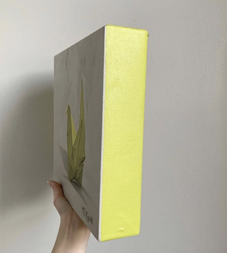 Yellow Crane Origami Painting by Artist Michelle Lee Rigell