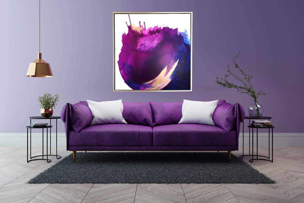 Modern interior with purple abstract painting by Nicolle Cure