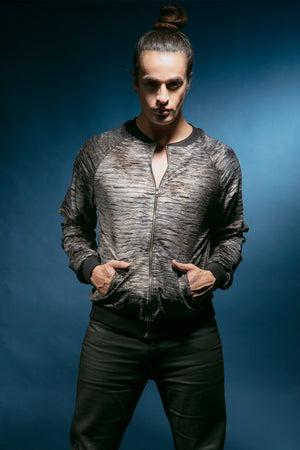 T8004 -  Crinkled Metallic Velvet Bomber Jacket