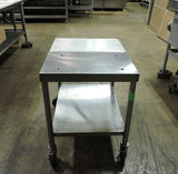 "Commercial Stainless Steel Used Work Table 24""x30"" W/ Polyboard  on Casters"