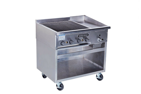 Rankin-Delux BG-2412-F-C-SS Commercial Gas Broiler/Thermo Griddle w/ SS Cabinet,
