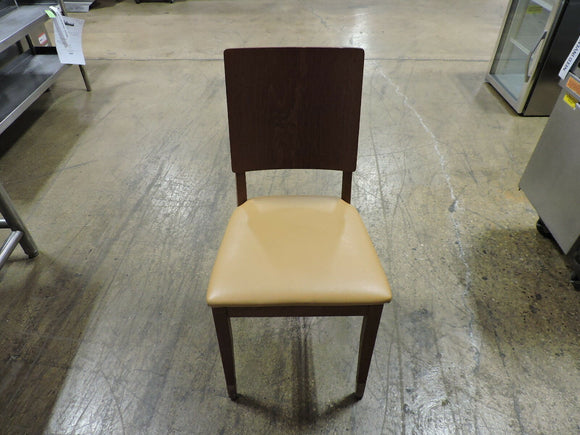 Wood Restaurant Dining Chair with Tan Seat,