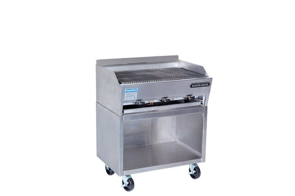 Rankin-Delux 3223-F-C-SS Commercial Gas Char Rock Broiler with S/S Cabinet Base
