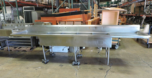 Commercial Stainless Steel 4-Compartment Sink w/ 2 Drainboards - 152