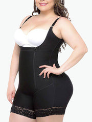 Slimming Zipper Bodysuit with Straps