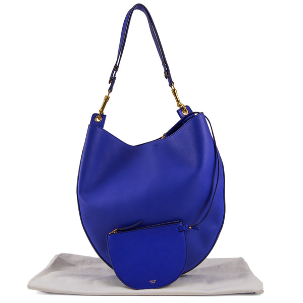 CELINE Blue Grained Calfskin Trotteur Hobo Bag with Pouch