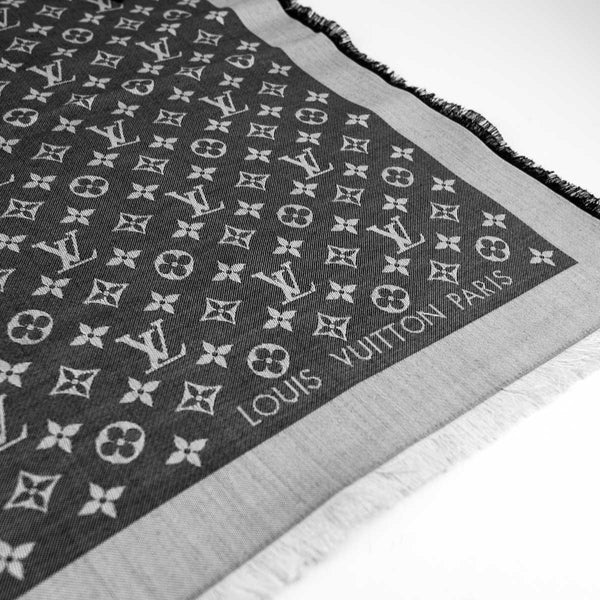 LOUIS VUITTON Black Denim Monogram Shawl
