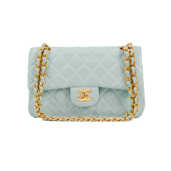 CHANEL Baby Blue Quilted Lambskin Classic Small Double Flap Bag