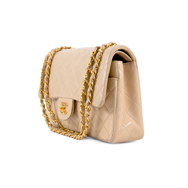CHANEL Beige Quilted Lambskin Classic Medium Double Flap Bag