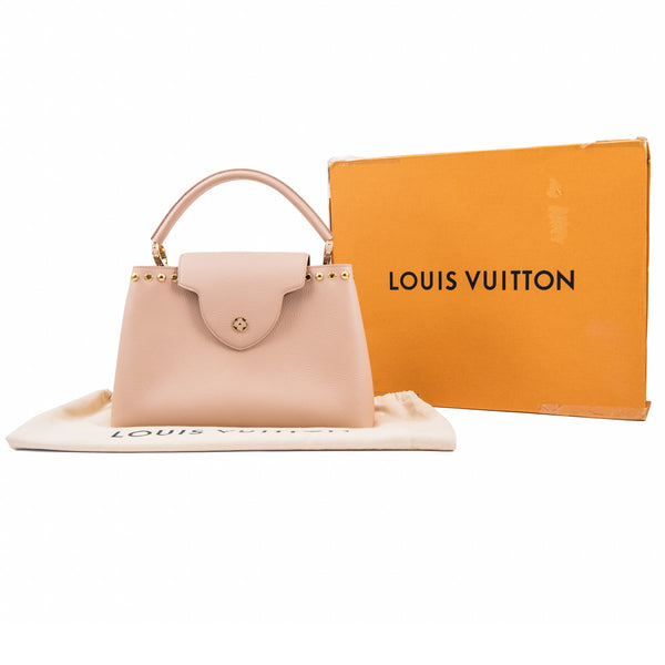 LOUIS VUITTON Beige Tivoli Taurillon Leather Capucines MM Bag