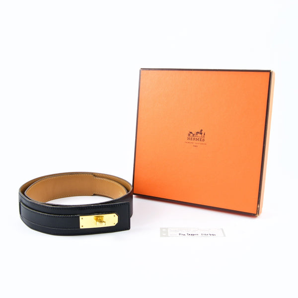HERMÈS Rare Black Box Calf Leather Kelly Belt 70