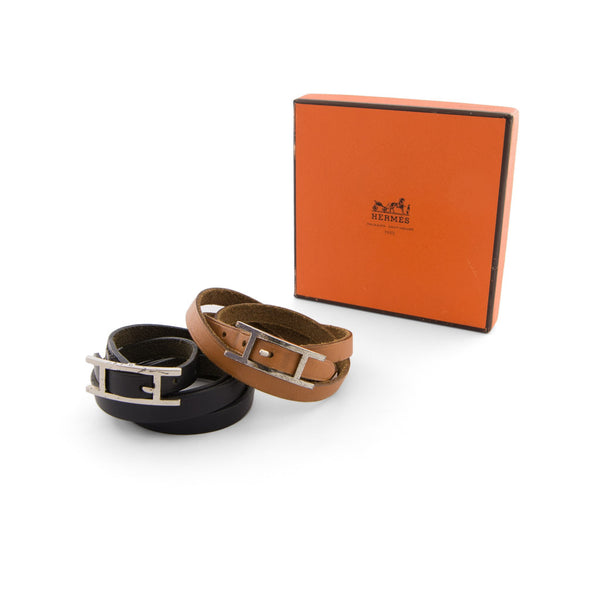 HERMÈS Twin Swift Calfskin Brown & Black Behapi Double Tour Bracelets