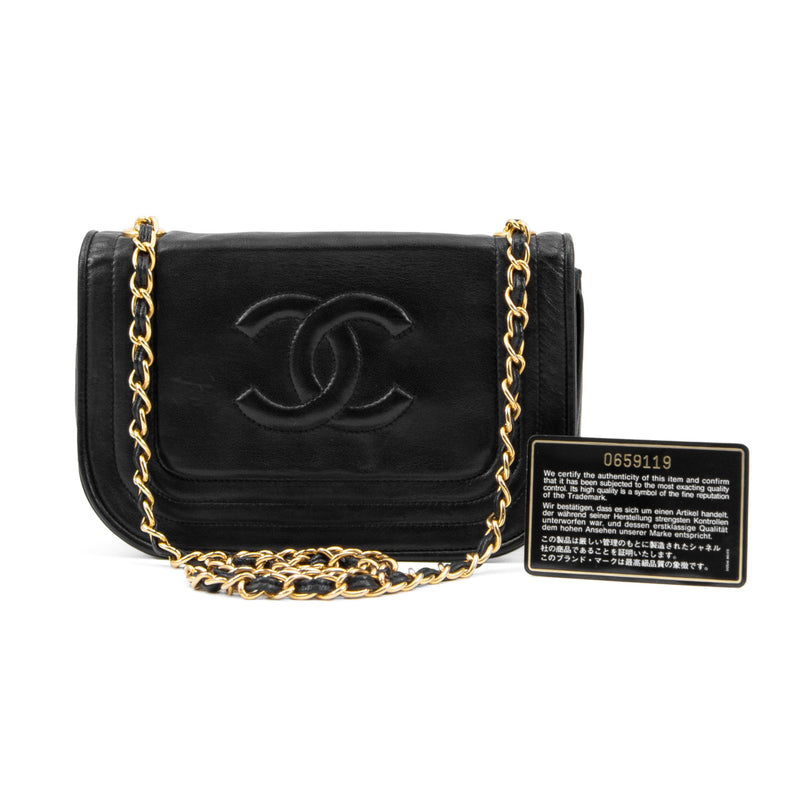 285e5785 CHANEL Black Lambskin Small Full Flap Bag