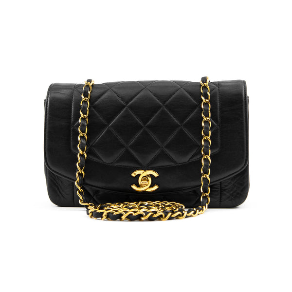 CHANEL Black Quilted Lambskin Small Diana Single Flap Bag