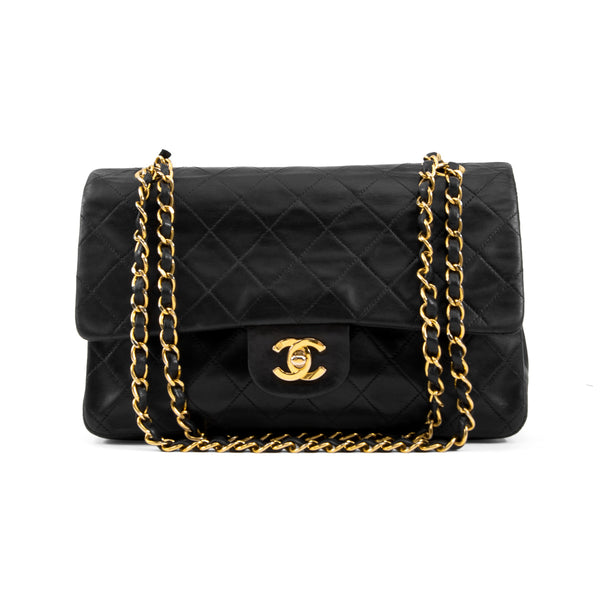 Vintage Chanel Black Quilted Lambskin Medium Double Flap Bag
