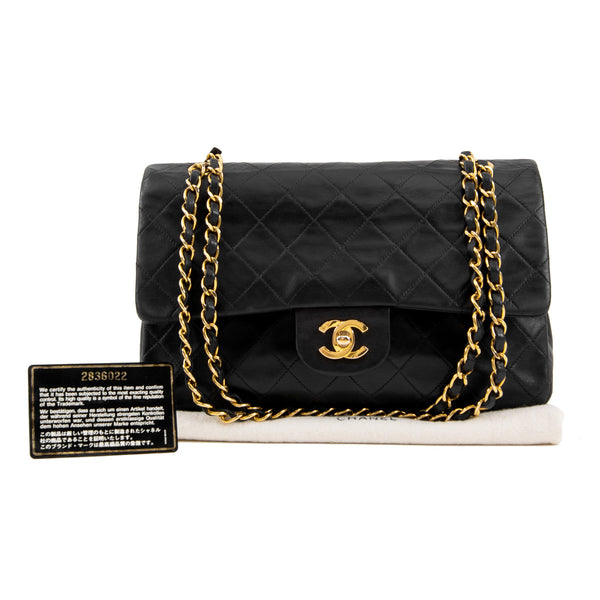 CHANEL Black Quilted Lambskin Classic Medium Double Flap Bag