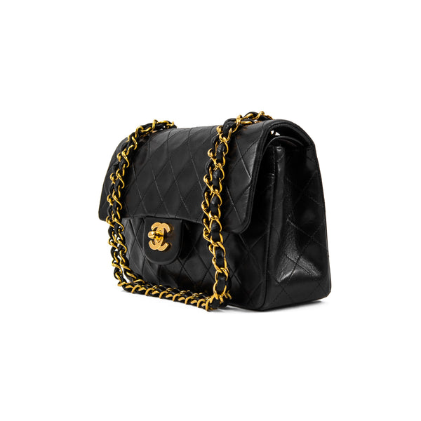 CHANEL Black Quilted Lambskin Small Double Flap Bag