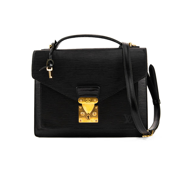 LOUIS VUITTON Black Epi Leather Monceau 28 Bag