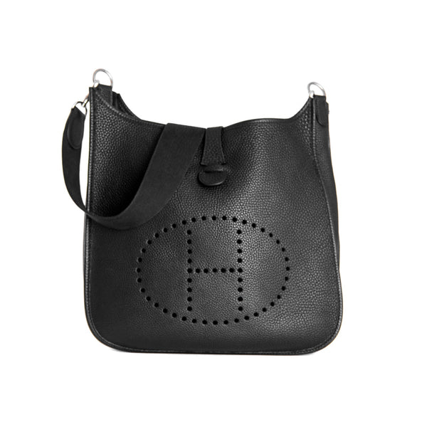 Second Hand Hermes Black Taurillon Clemence Leather Evelyne