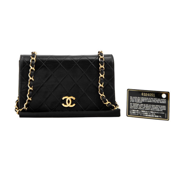 CHANEL Black Quilted Lambskin Mini Single Full Flap Bag