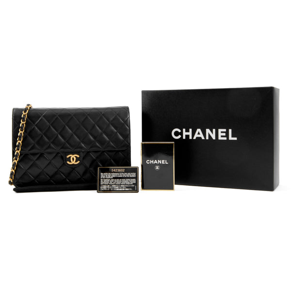 CHANEL Black Quilted Lambskin Medium Single Flap Bag