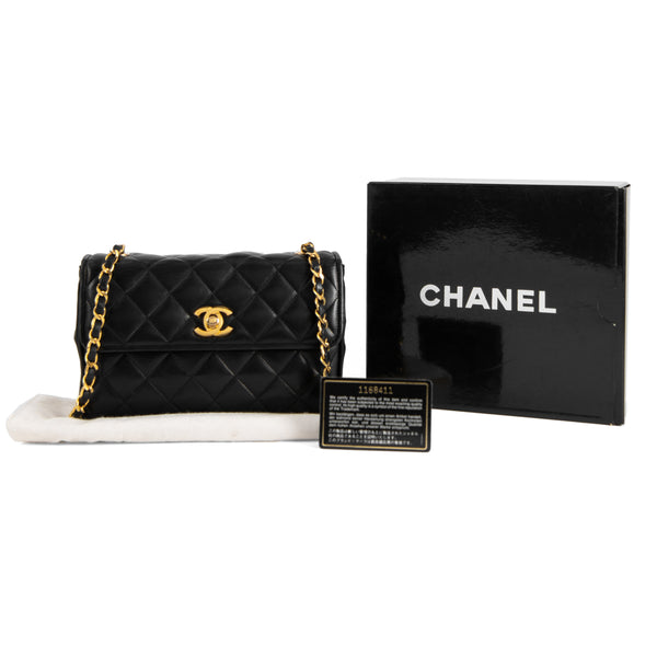 CHANEL Black Quilted Lambskin Mini Single Flap Bag