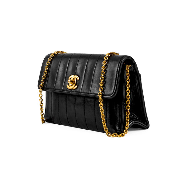 CHANEL Black Vertical Quilted Lambskin Mini Single Flap Bag