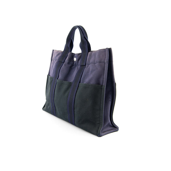 HERMÈS Navy & Black Cotton Canvas Fourre Tout MM Tote Bag